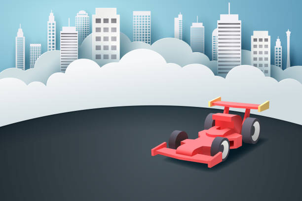paper art of racing car and town - formula 1 stock illustrations
