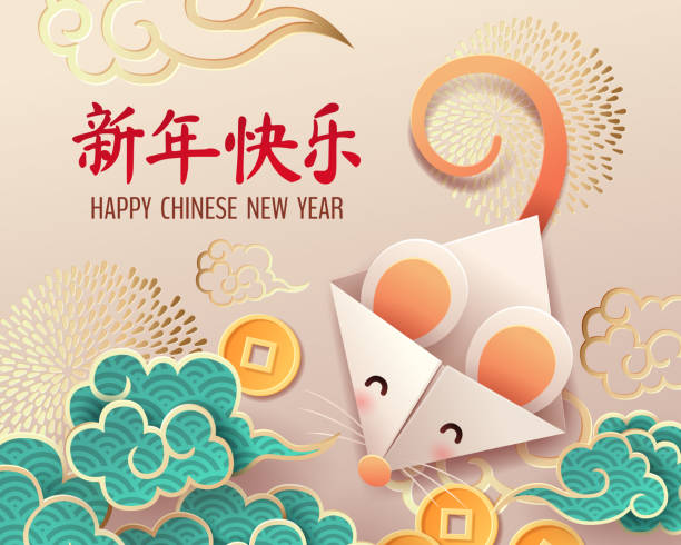 paper art of rat origami with chinese old coins - chinese new year stock illustrations