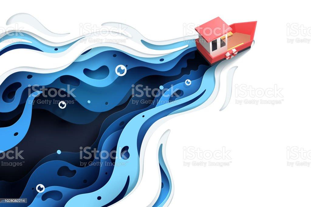 Papier d'art bateau rouge et la mer. papier dart bateau rouge et la mer vecteurs libres de droits et plus d'images vectorielles de art libre de droits