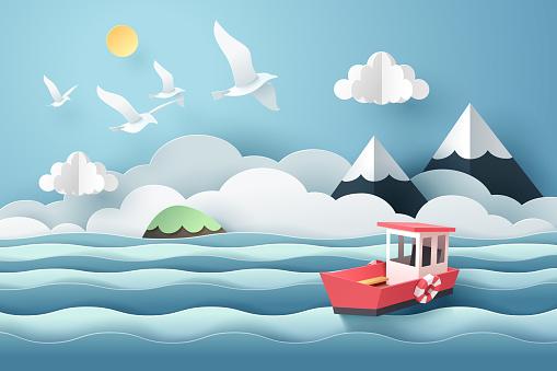 Paper art of red boat