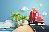 Paper art of red car run at beach, origami and travel concept, vector art and illustration.