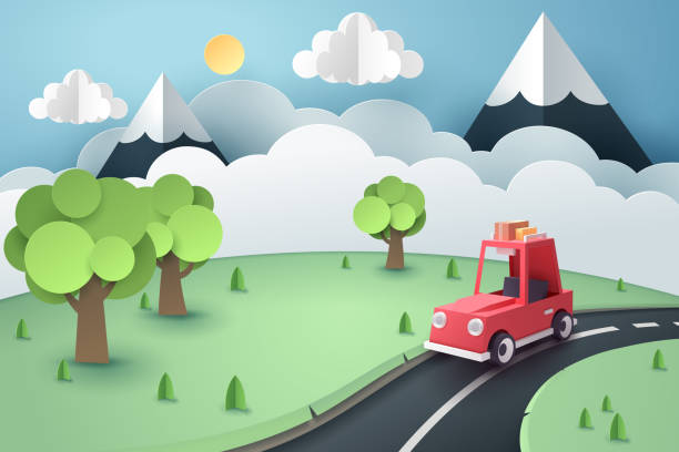 Paper art of red car stop at country road near forest and mountain, origami and travel concept Paper art of red car stop at country road near forest and mountain, origami and travel concept, vector art and illustration. paper craft stock illustrations