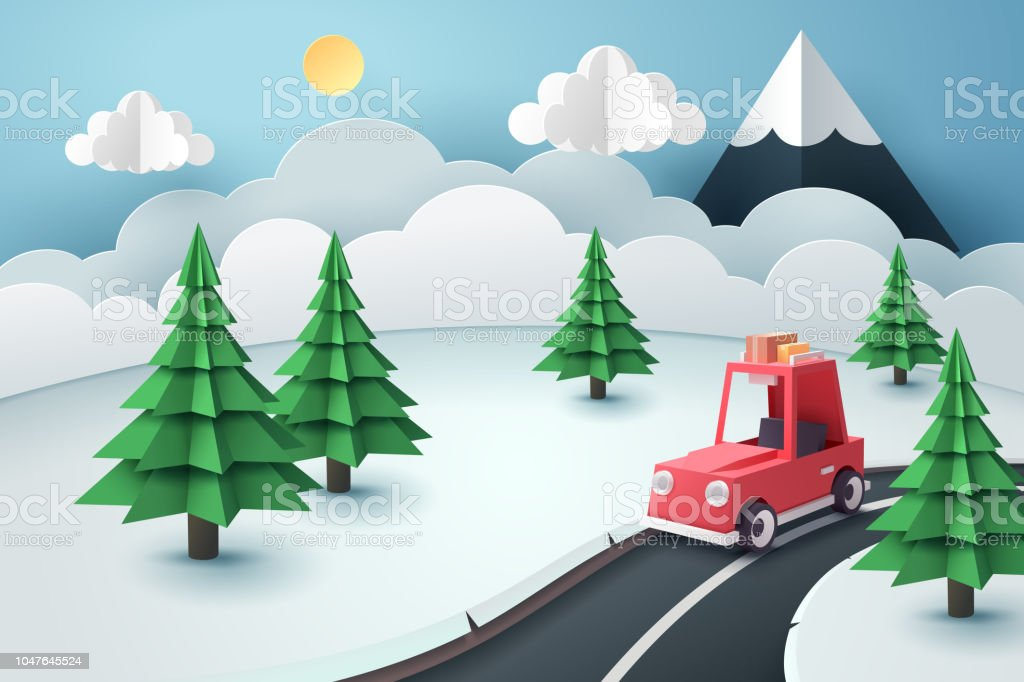 Paper art of red car stop at country road near forest and snow mountain, travel and season concept vector art illustration