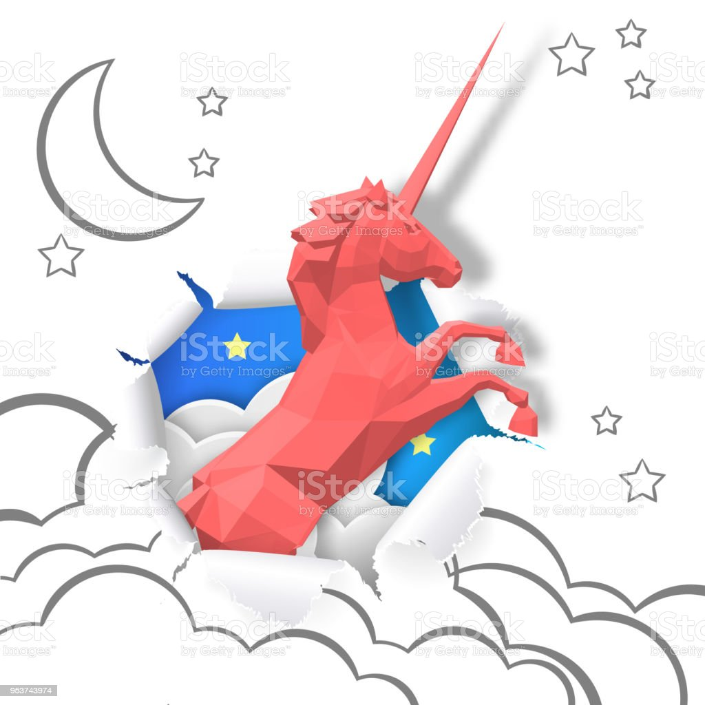Paper art of red Unicorn through paper of hand drawing, business...