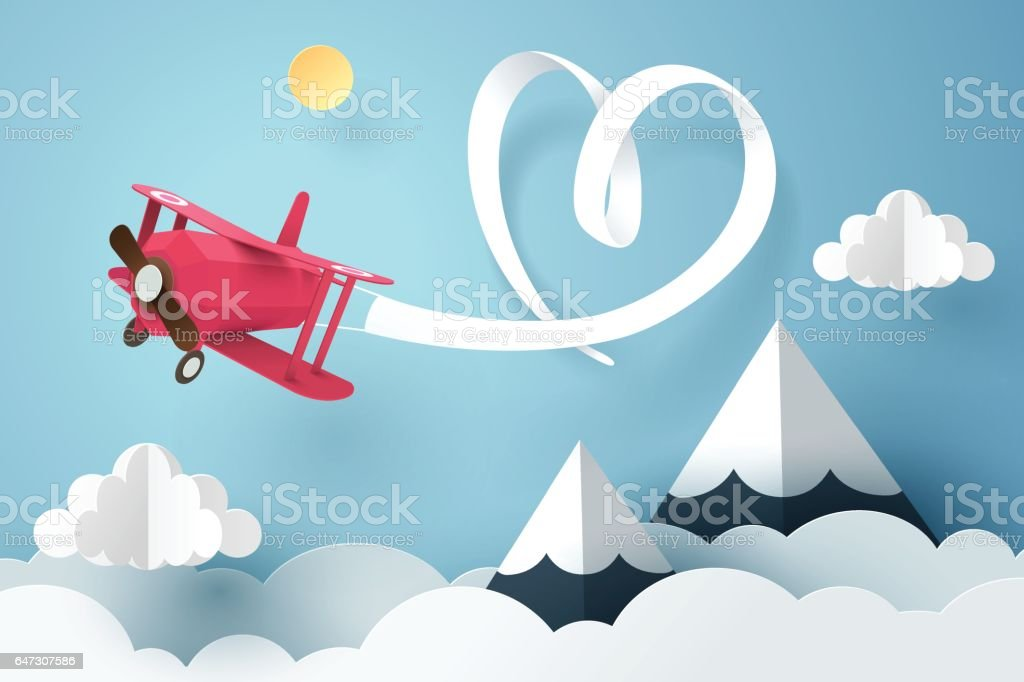 Paper art of ribbon hang with a pink plane flying in the sky, origami and valentines day concept vector art illustration