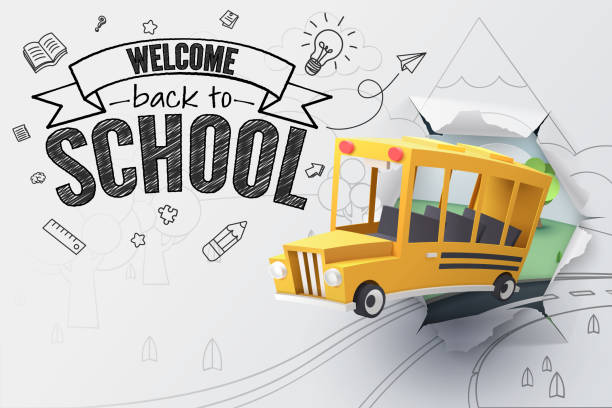 paper art of school bus jumping out from sketched paper, back to school concept - back to school stock illustrations, clip art, cartoons, & icons