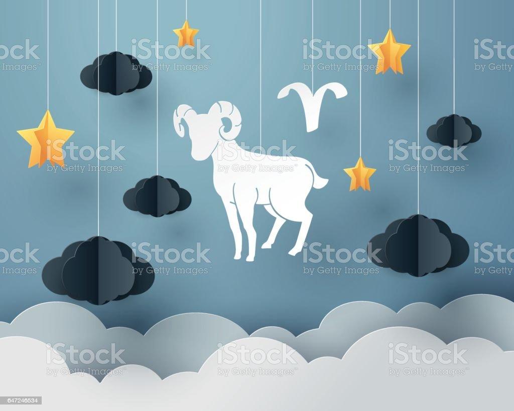 Paper art of  sheep to Aries and Ram of zodiac and horoscope concept – artystyczna grafika wektorowa