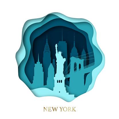 Paper art of skyline New York city. Origami concept. Vector illustration.