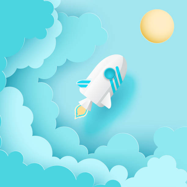 paper art of space shuttle launch to the sky. blue sky, sun, fluffy paper cloud. rocket launch. start up business concept and exploration idea - abstract of paper spaceship launch to space stock illustrations, clip art, cartoons, & icons