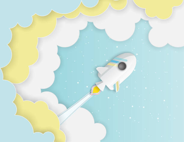 paper art of space shuttle launch to the sky. - abstract of paper spaceship launch to space stock illustrations, clip art, cartoons, & icons