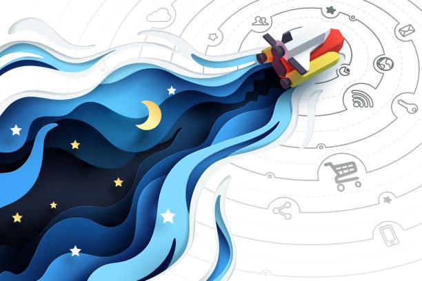 illustrazioni stock, clip art, cartoni animati e icone di tendenza di paper art of spaceship fly to explore, social media marketing concept and start up business idea - sfondo scarabocchi e fatti a mano