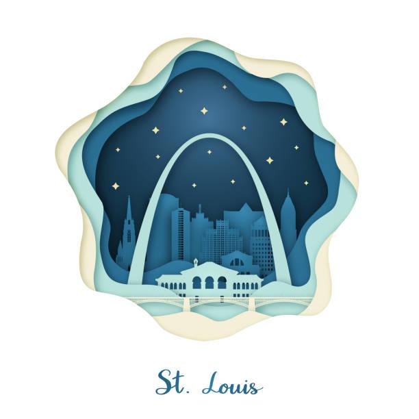 聖路易斯的造紙藝術。折紙概念。夜城市與星。向量插圖。 - st louis 幅插畫檔、美工圖案、卡通及圖標