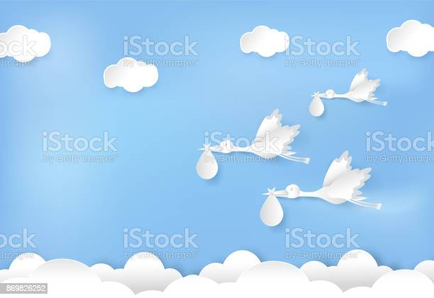 Paper art of stork flying with baby on blue sky paper cut style vector id869826252?b=1&k=6&m=869826252&s=612x612&h=z326suo3swn hk9iiyft7s8cjzakvzjxqficls9e124=