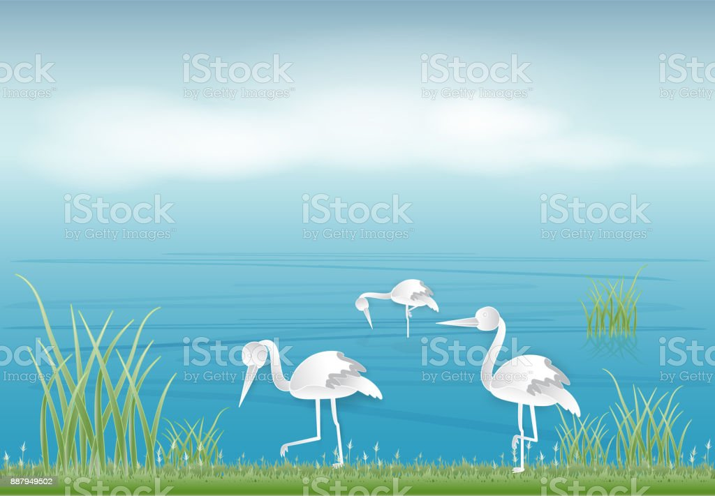 Paper art of stork looking for food in the pond paper cut style illustration vector art illustration
