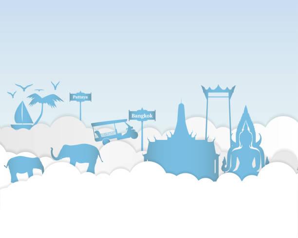 papierkunst von thailand reisen, papierkunst der stadt, landschaft. vektor-illustration-design. reisen sie in thailand-konzept. - pattaya stock-grafiken, -clipart, -cartoons und -symbole