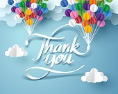 Paper art of thank you calligraphy hand lettering hanging with colorful balloon, vector art and illustration.