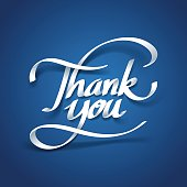 Paper art of thank you calligraphy hand lettering
