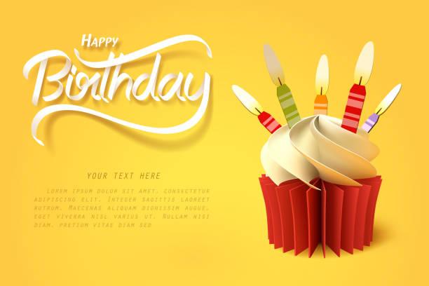 papierowa sztuka kubka ciasta i nowiturowe napisy do ręczne - ciasto stock illustrations