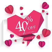 Paper art of Valentine's day love concept. Pink abstract background Used to greeting card invitation and advertising sale. Vector illustration