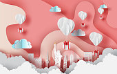 Paper art of white balloons gift floating on Abstract Curve shape pink sky background,valentine season concept. City landscape for card and poster. New York city. USA. vector. illustration. EPS10