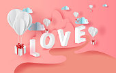 3D Paper art of white balloons gift floating with Mountains and rivers landscape view scene place for your love text space pink color pastel background.Valentine's day concept.vector for greeting card