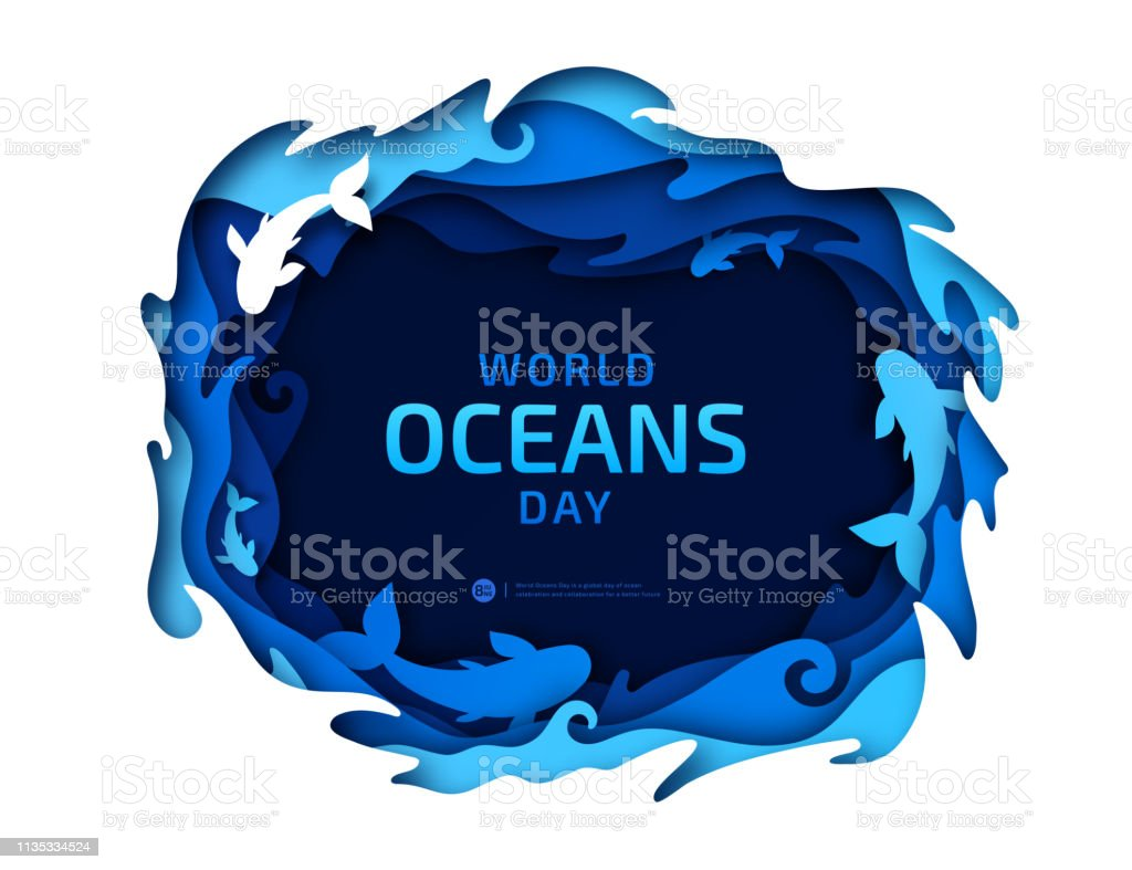Beautiful banner for World Oceans Day in style paper art, scrapbooking
