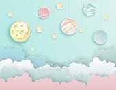 Paper art origami abstract concept with stars, fluffy clouds, full moon, different planets of solar system in pastel colors. Vector illustration