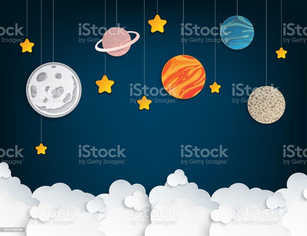 Papel origami abstrato conceito de arte com estrelas, nuvens fofas, lua cheia, diferentes planetas do sistema solar. Ilustração vetorial - ilustração de arte em vetor