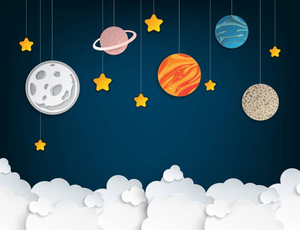 Paper art origami abstract concept with stars, fluffy clouds, full moon, different planets of solar system. Vector illustration Paper art origami abstract concept with stars, fluffy clouds, full moon, different planets of solar system. Vector illustration paper craft stock illustrations