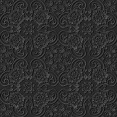 3D paper art pattern curve cross spiral frame flower