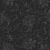 3D paper art pattern spiral botanic flower leaf