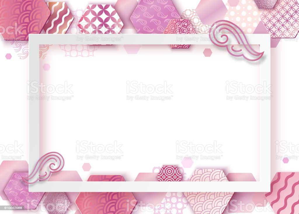 Papier Kunst Rosa Rahmen Mit Japan Wellenmuster Broschüre