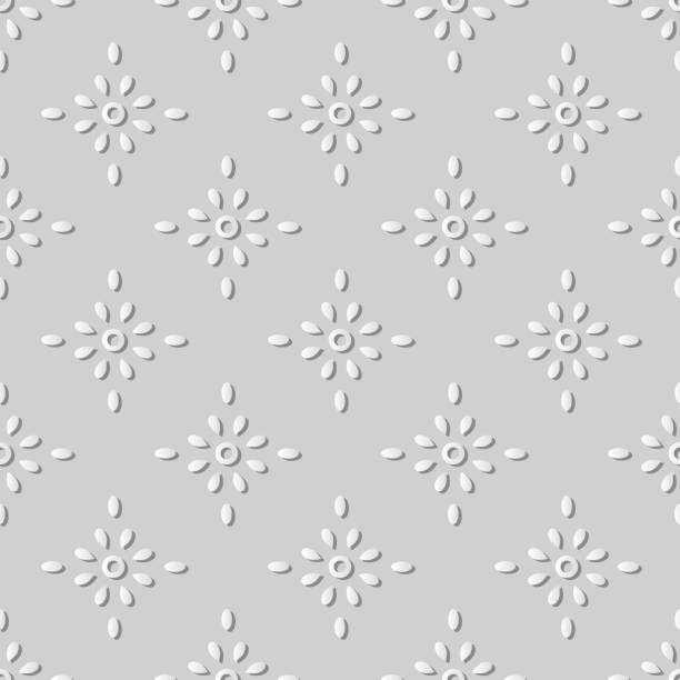 3d papierkunst runde cross dot blume - gartenskulpturkunst stock-grafiken, -clipart, -cartoons und -symbole