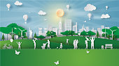 Paper art style of eco landscape sunlight at New York City America with happy family having fun,People big family enjoy fresh air in outdoor park,illustration design ecology paper cut concept vector.