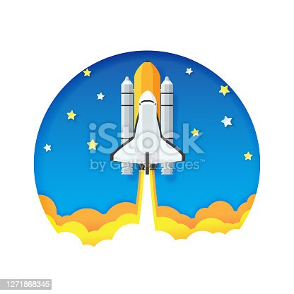 Paper art style of origami rocket launch to space in circle design, Start up business concept, Vector illustration