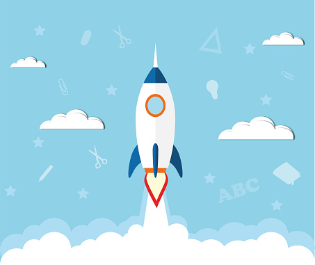 Paper art style of rocket flying in space, startup doodles, education concept, flat-style vector illustration. Back to school poster  paper background. Vector illustration for banners invitation banner and website