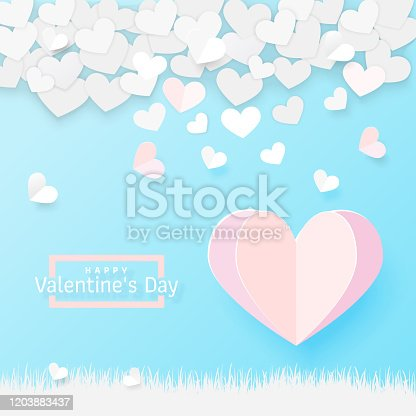 Origami pink paper balloon heart shape flying on the sky over the grass. Valentine's day holiday card. Valentines day banner design of paper hearts on blue background. Vector illustration.