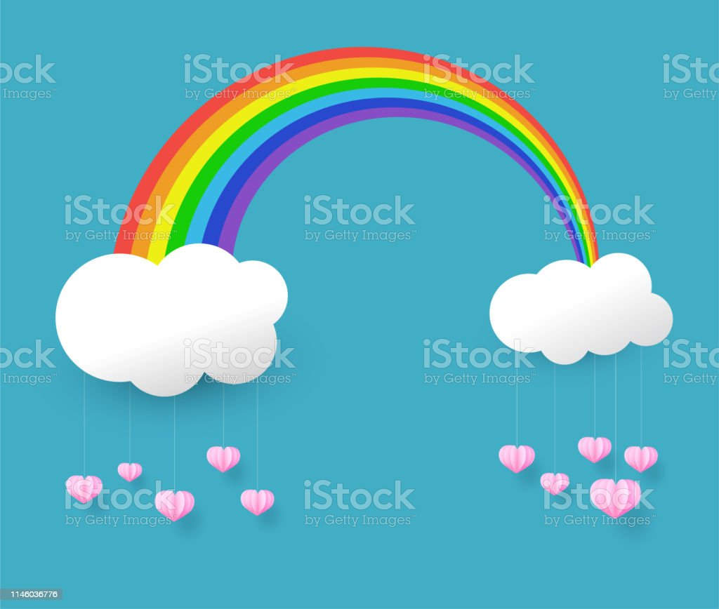 paper art style, rainbow and pink heart in the sky