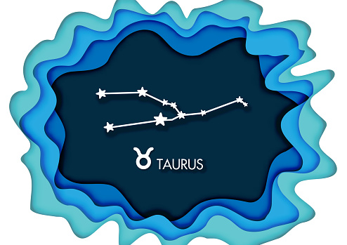 Paper art style, tauro, horoscope star sign on modern paper cut abstract background. vector and illustration