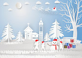 paper art style, winter season with snowflake, house, child and snowman, Vector illustration of Merry Christmas, Graphic design.