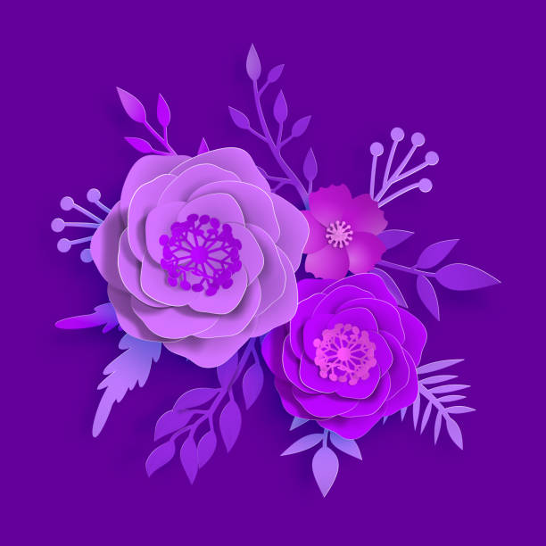 Paper art, summer flowers on a proton purple background with leaves cut of paper. Vector stock illustration Vector paper art, summer flowers on a proton purple background with leaves cut of paper. Stock image illustration violet flower stock illustrations