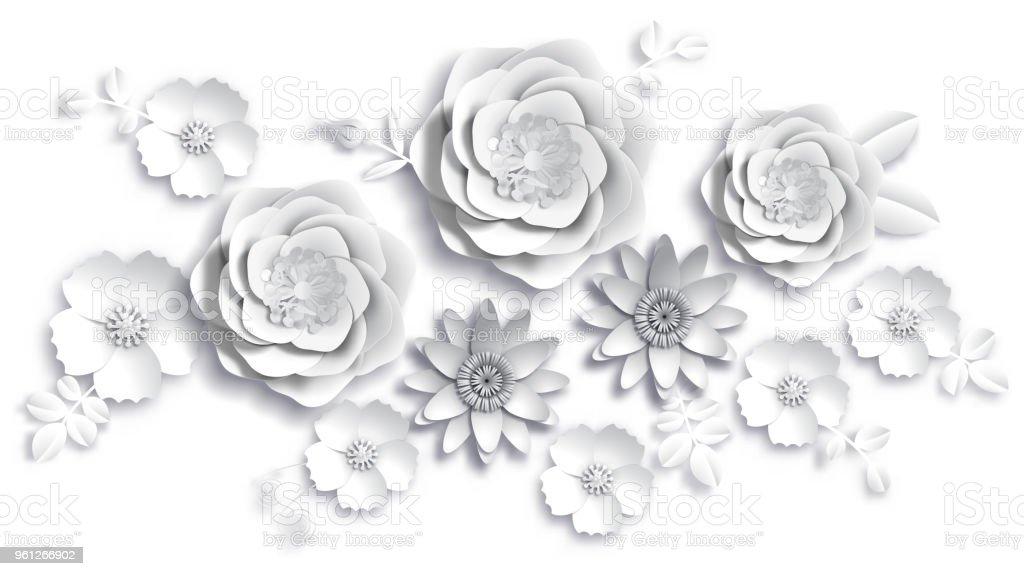 Kağıt Sanat, yaz çiçek yaprakları kesim kağıt ile beyaz bir arka plan üzerinde. Hisse senedi vektör çizim vektör sanat illüstrasyonu