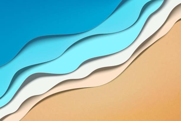 Paper art wave tides Paper art summer beach wave tides in 3d illustration tide stock illustrations