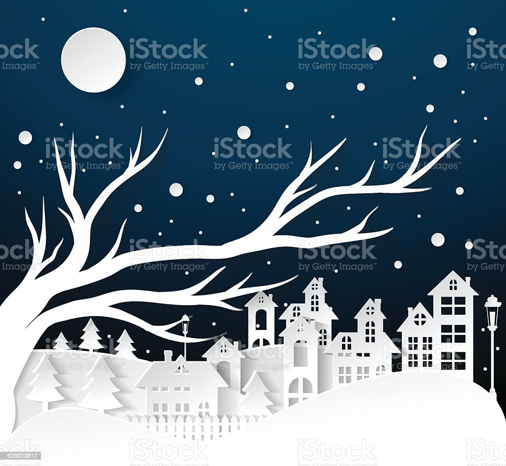 paper art Winter Snow Urban Countryside Landscape