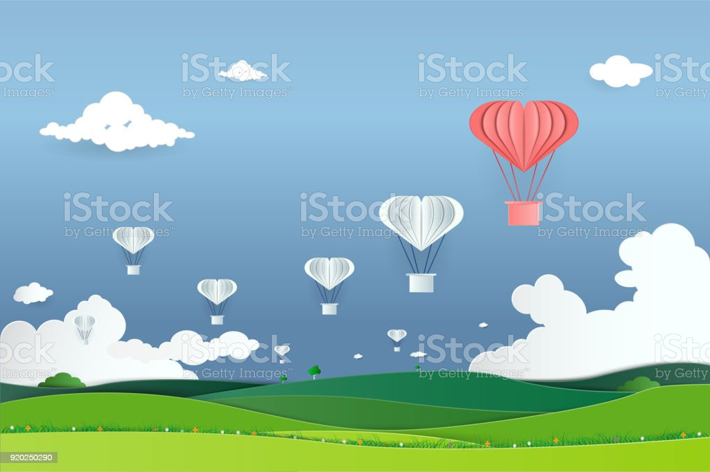 Paper Art With Origami Paper Hot Air Balloon Flying On Sky Business