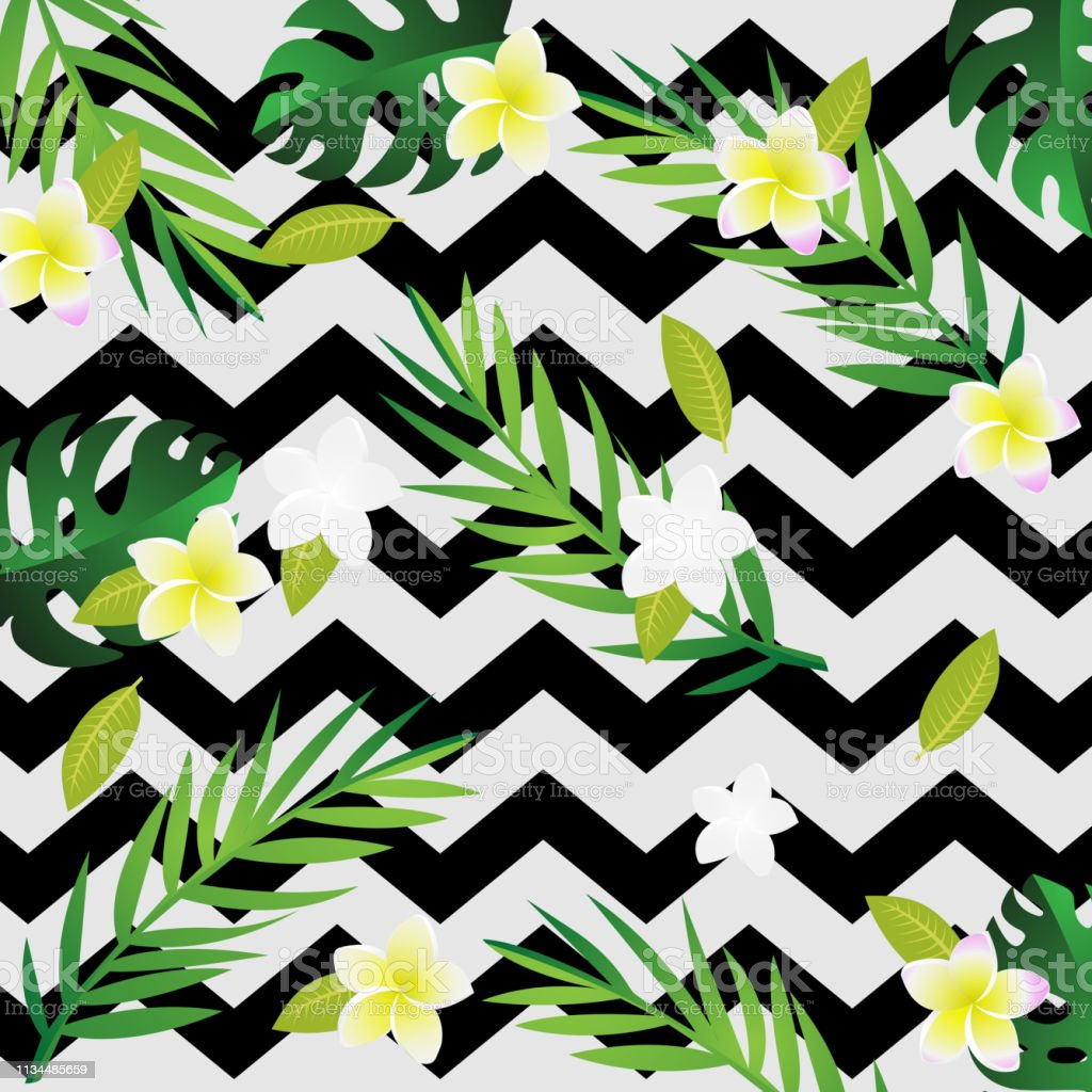 Paper Art With Seamless Of Tropical And Summer Pattern Background