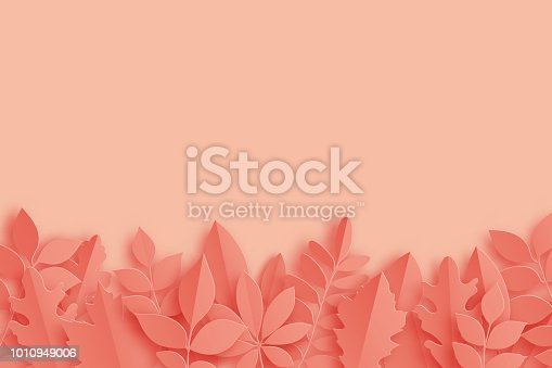 Paper autumn maple, oak and other leaves pastel colored background. Trendy origami paper cut style vector illustration