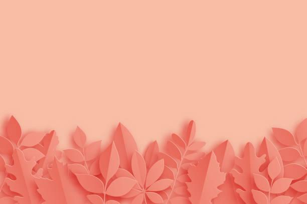 紙秋メープル、オーク、その他は、パステル カラーの背景を残します。トレンディな折り紙カット スタイルのベクトル図 - 葉のテクスチャ点のイラスト素材/クリップアート素材/マンガ素材/アイコン素材