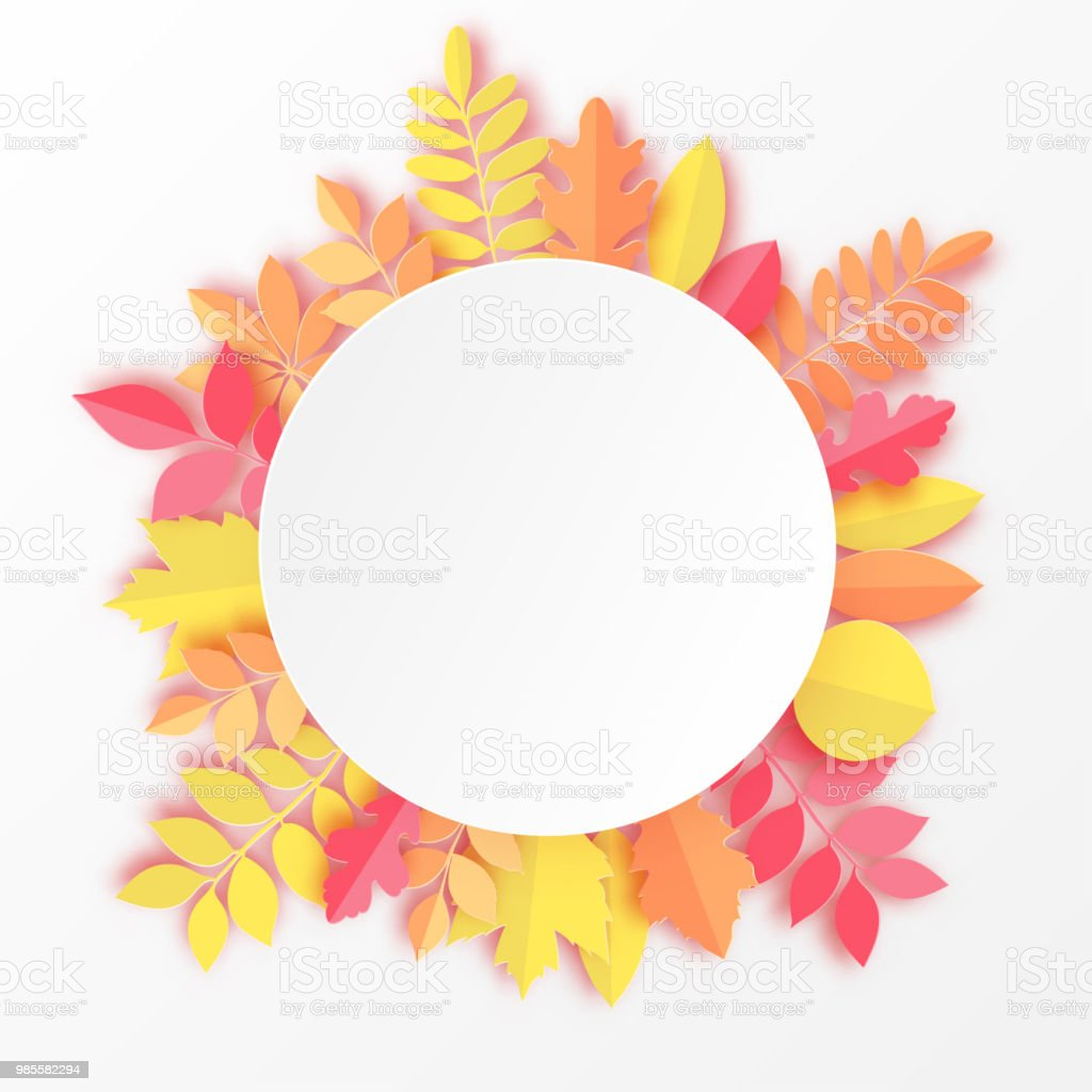 Paper Autumn Maple Oak And Other Leaves Round Frame Pastel Colored ...