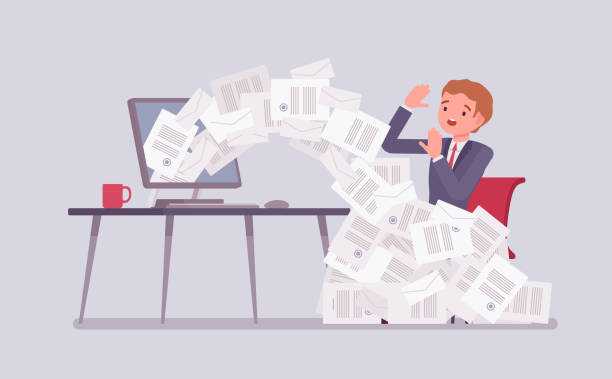 Paper avalanche for businessman Paper avalanche for businessman. Male office worker overloaded with paperwork from computer, heap of business letters and online documents, busy clerk in routine, bureaucracy. Vector illustration avalanche stock illustrations